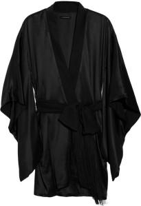 Kiki de Montparnasse black amour collection silk charmeuse robe.