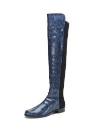 Stuart Weitzman 50/50 Blue Snakeskin Boots