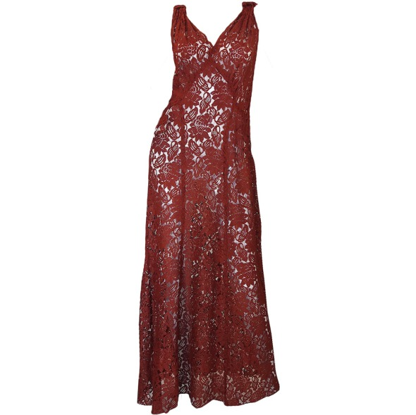 1930s Stunning Bias Cut Rust Lace Gown2