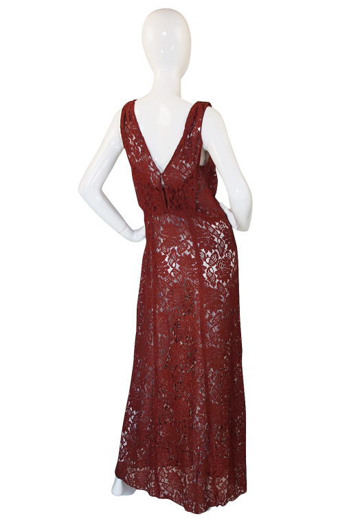1930s Stunning Bias Cut Rust Lace Gown3