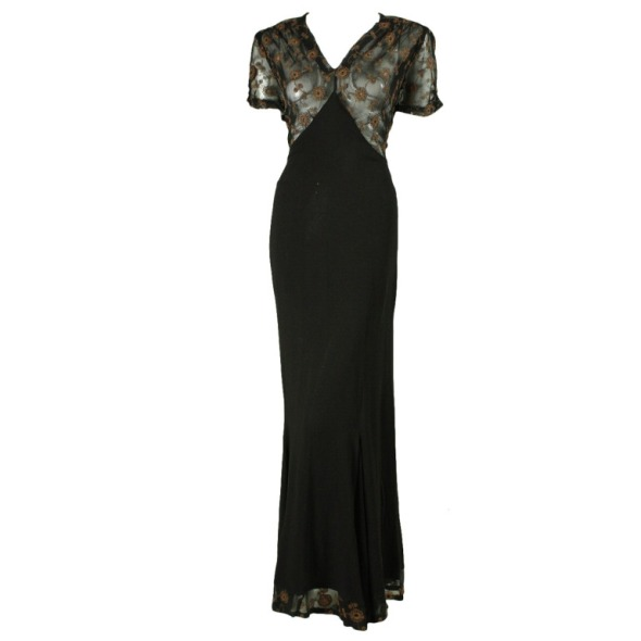 1940's Black Crepe Gown with Metallic Embroidery