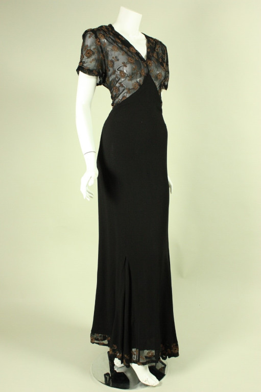 1940's Black Crepe Gown with Metallic Embroidery2