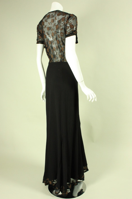1940's Black Crepe Gown with Metallic Embroidery3