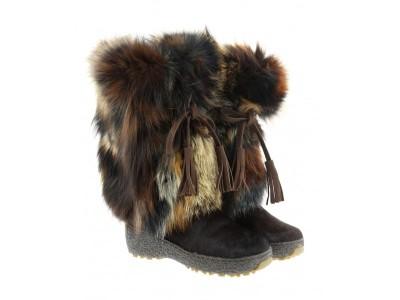oscar-fur-boots-fox fur brown