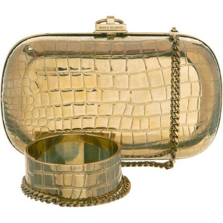 REECE HUDSON metallic bag and cuff Barneys gold