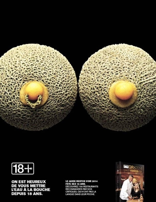 Risque Canadian Food Ad Cantalope Breasts with Nipple Ring