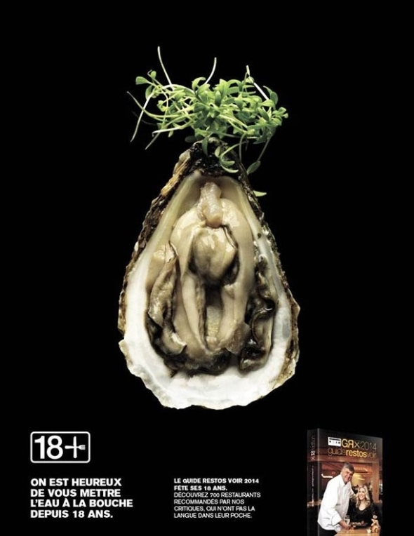 Risque Canadian Food Ad Oyster Pussy with Sprouts