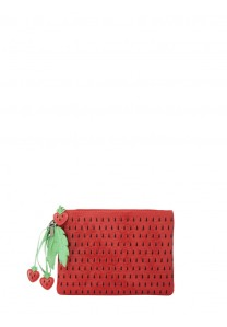 Alice and Olivia STRAWBERRY TEXTURED PATENT CLUTCH $265