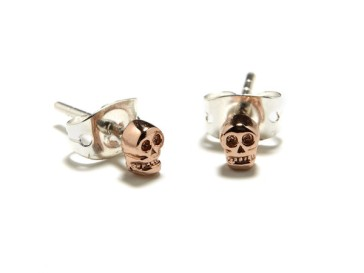 BingBang Tiny Rose Gold Skull Studs