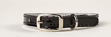 Black patent leather collar