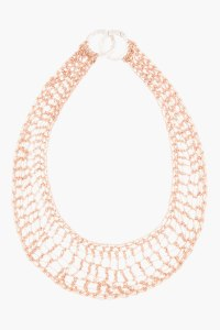 ARIELLE DE PINTO rose gold lattice bib necklace