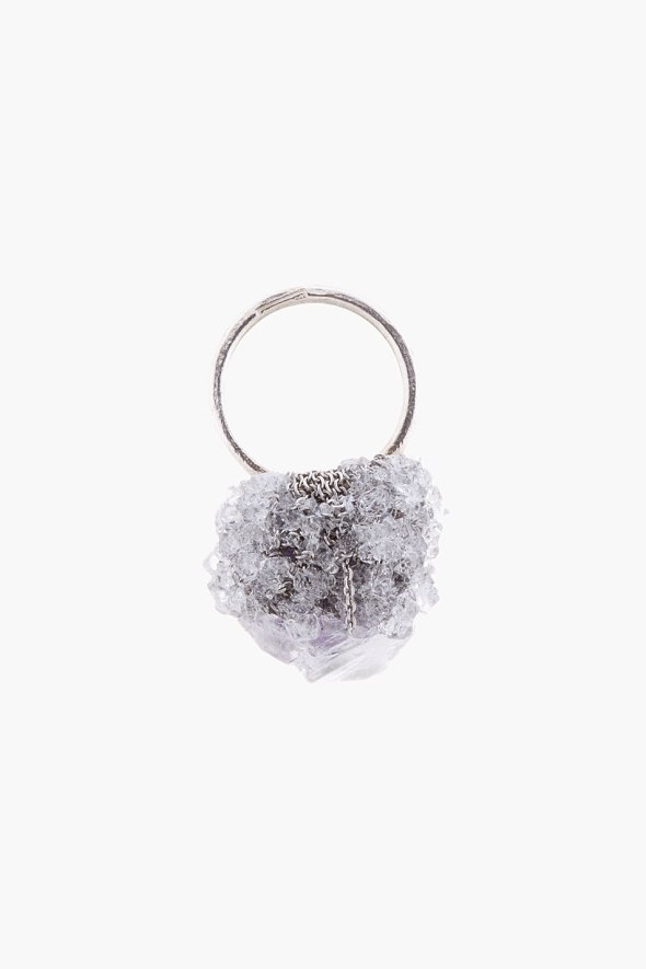 ARIELLE DE PINTO silver and purple crystal boule ring