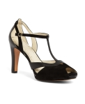 Brooks Brother Suede and Leather Peep Toe T-Strap black