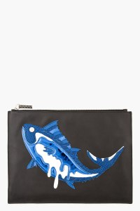 Kenzo Blue Black Patchwork Fish Pouch