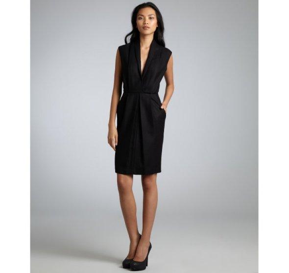 Adam black wool shawl collar dress