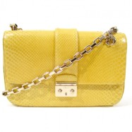 """Christian Dior - Canary Yellow Snakeskin """"Miss Dior"""" Flap Bag $1,500.00"""