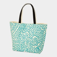 Uniqlo_Haring_Turquoise_Pattern_on_White_Tote