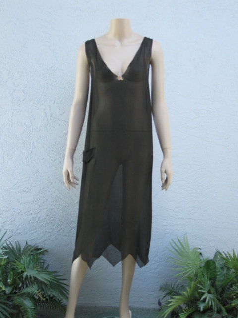 1920's Black Silk Chiffon Nightgown With Ribbon Work Rosette...large