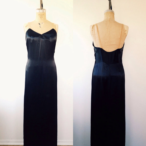 1920s lingerie 1920s silk gown Black Silk nightgown