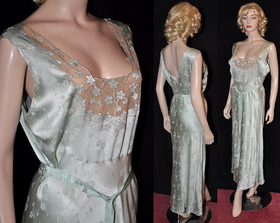 1930s Bias-Cut Silk Nightgown~ (X-Lg Sz- 44) Empress Josephine! Beautiful