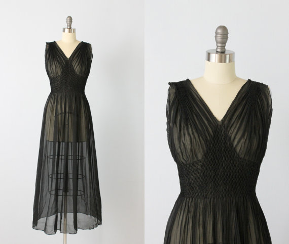 1930s Nightgown 30s Lingerie Black Silk Chiffon
