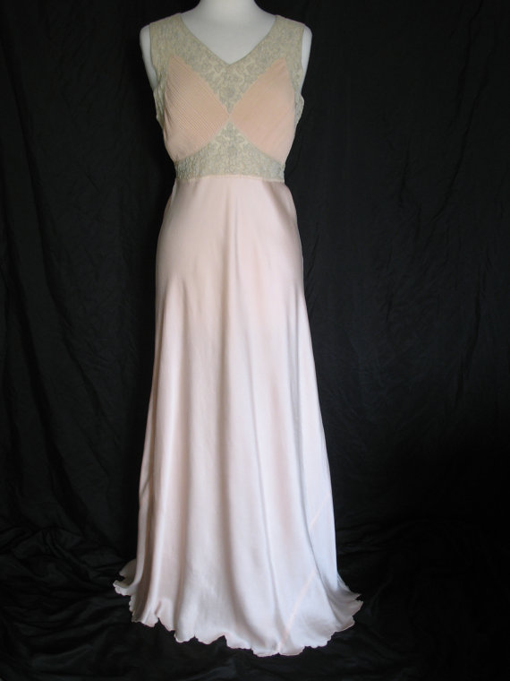 1930s Silk Satin Bias Nightgown Pin Tucked Silk Chiffon Embroidery Lace Couture Luxurious Lady Evening Gown Bust 34-36