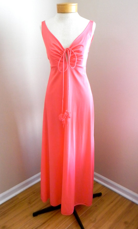 1950's 60's Old Hollywood Glamour Nightgown Salmon Pink Negligee 50s 60s Glamourous Womens Negligee Subtly Sexy Sleepwear