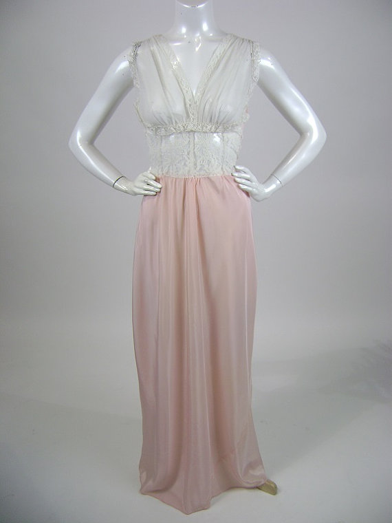 1950s Nightgown Sheer Lace Bodice Pastel Pink Silk Bottom Small B32 34 Burlesque