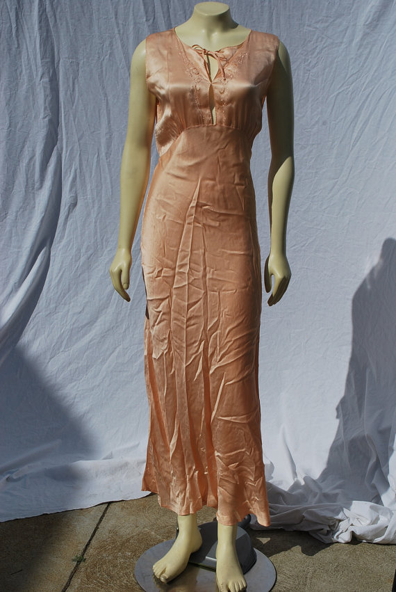 1950's slip lingerie sM MINT sexy Long full slip bias cut silk embroidered nightgown by thekaliman
