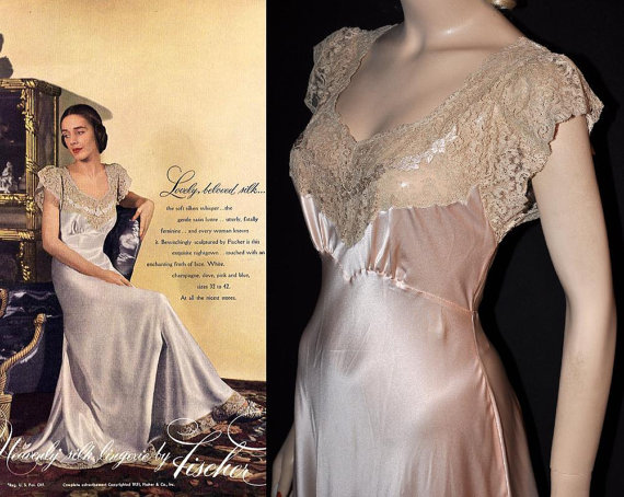 1951 NW-Tagged 'Fischer' Bias Silk Nightgown~ Size 35+Bewitchingly Sculptured!