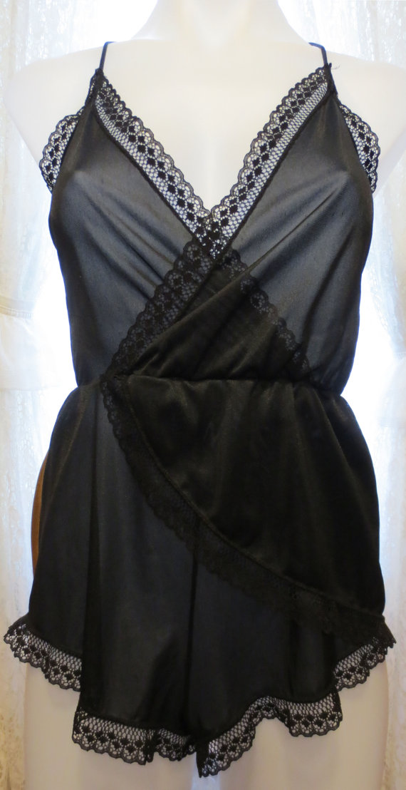 1970's 80's Uber Sexy Black Lace Nightgown Lingerie Semi Sheer