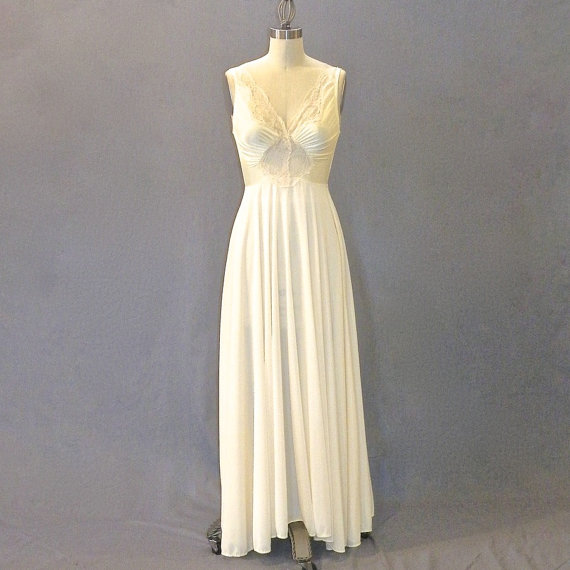 1970s Olga Nightgown, Ivory Body Silk & Lace Cutout Lingerie, Olga Style 9687, XS - Small
