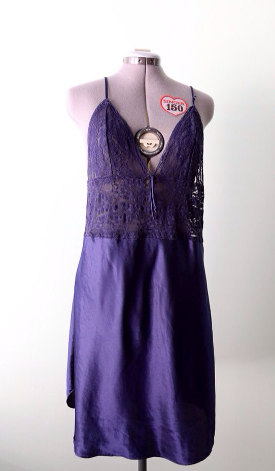 1980s Navy Silk Slip Nightgown with Sheer Bust and midriff