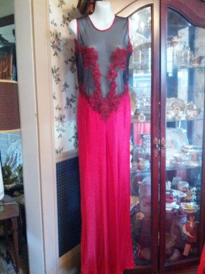 1980s Red Silk Black Mesh Valentine Red Nightgown Victoria Secret Size Medium