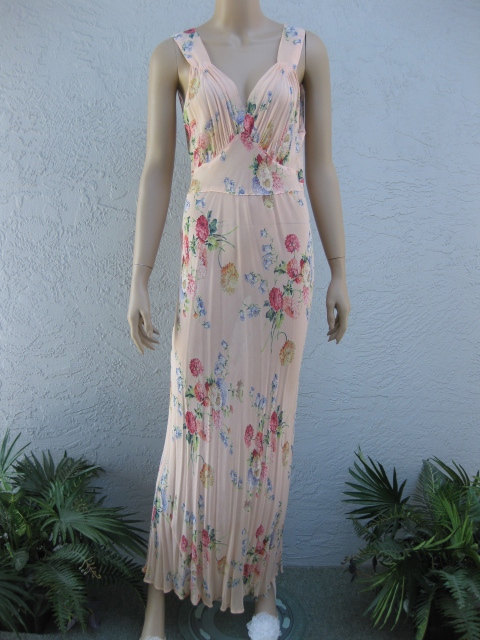 1930's Bias Cut Floral Sheer Nightgown With Blue Bells