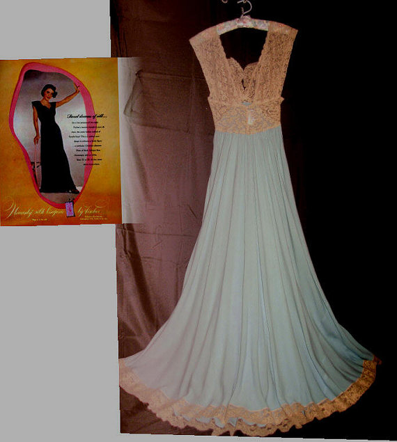Fischer Heavenly Silk Lingerie 40s Bias Aqua Blue Nightgown Bust 32