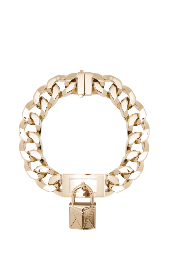 Givenchy Chain Lock Necklace Gold