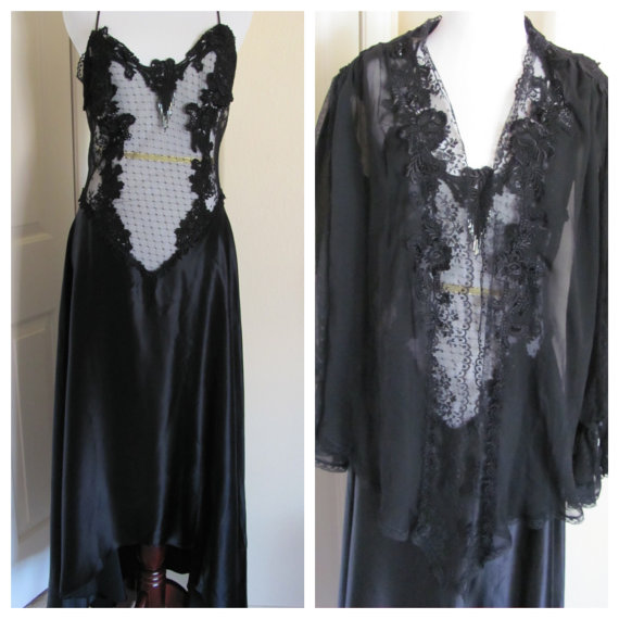 Vintage Amazing JONQUIL Ladies Black Silky Beaded Lace Lingerie Peignoir Nightgown Robe Set 2 Piece Pristine