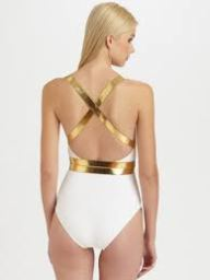 Michael Kors white wrap gold back