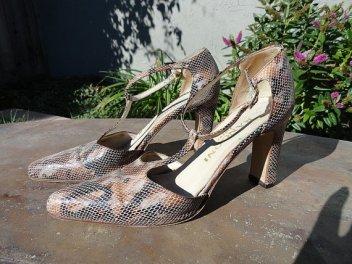 Vintage Snakeskin T-Strap Shoes