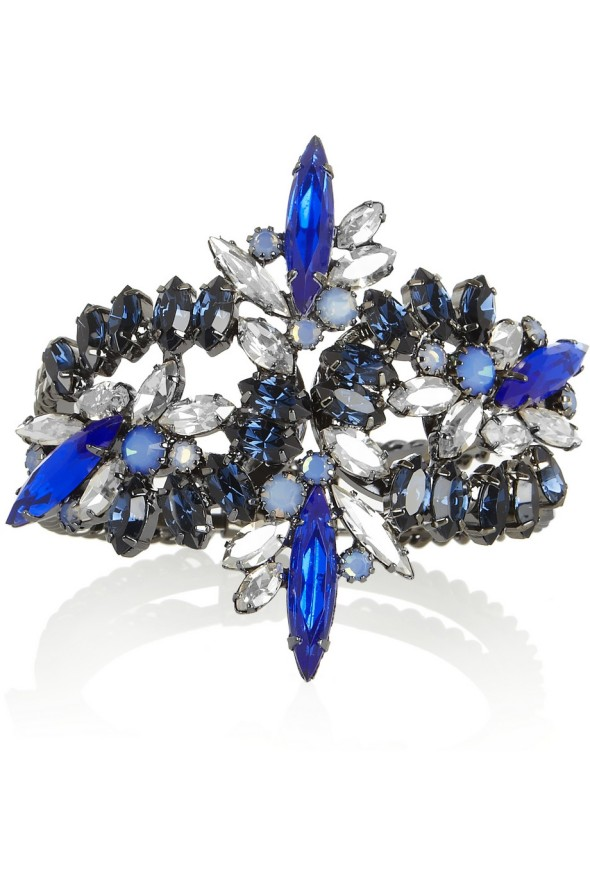 Elizabeth Cole Swarovski Hematite Crystal Cuff