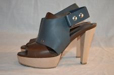 Marni Grey Brown Leather Wooden Heels
