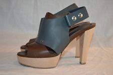 Marni Grey Brown Leather Wooden Heels