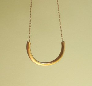 Vintage Brass Cylinder Necklace Etsy
