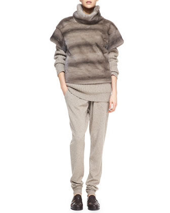 Michael Kors Mink Turtleneck Cashmere Sweater and Pants Outfit 2014