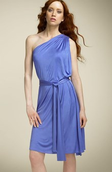 Norma Kamali Everlast Wedgewood Blue One Shoulder Dress (220x338)
