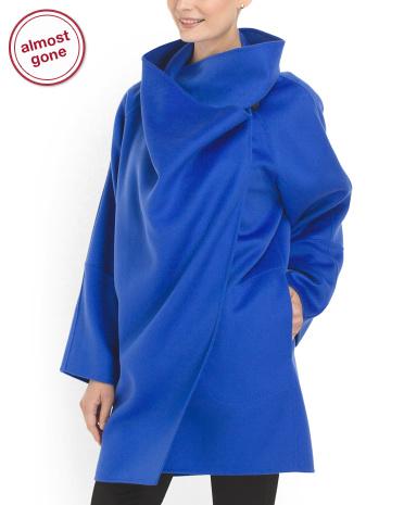 Armani Collezioni Cashmere Cape Coat Blue