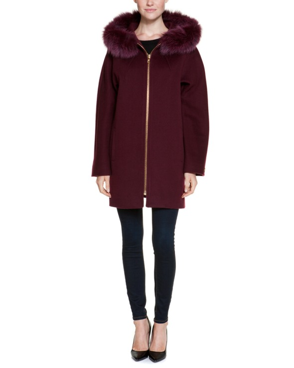 Caruana Bordeaux Wool Fur Hooded Coat