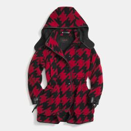 Coach Buffalo Plaid Coat red