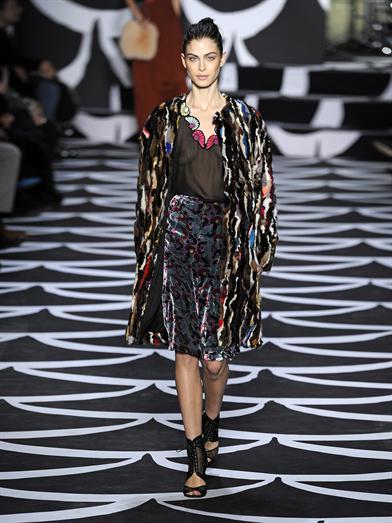 Diane von Furstenberg Fur Finale Coat Runway